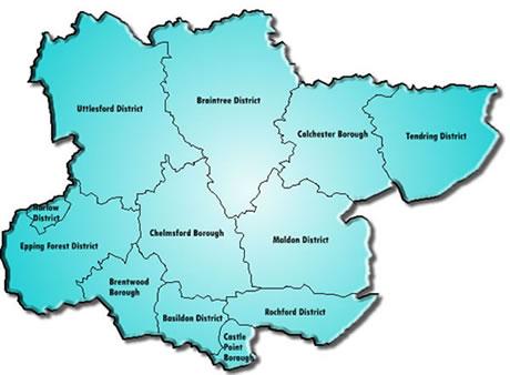 Teach in Essex area map