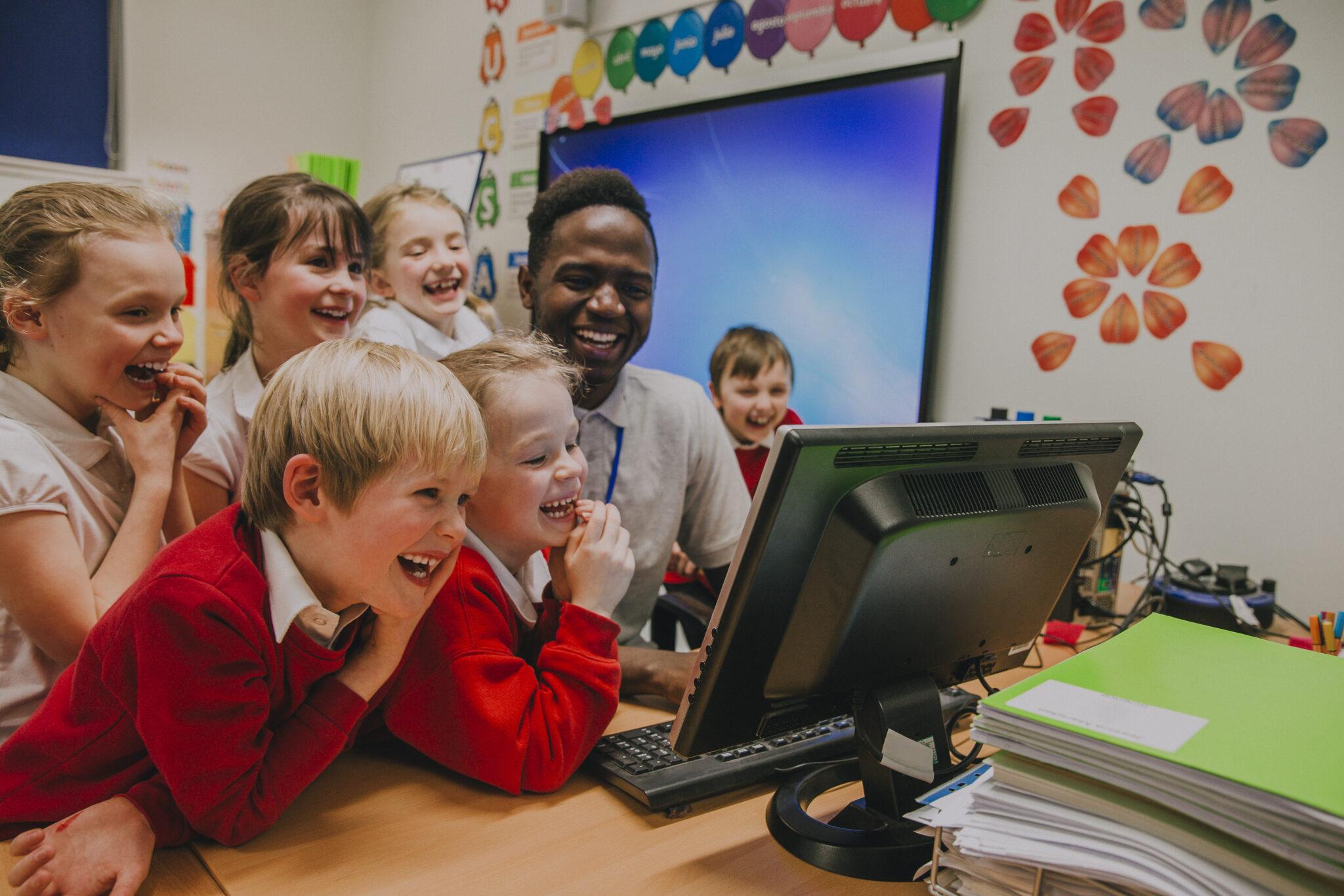 teacher managing classroom