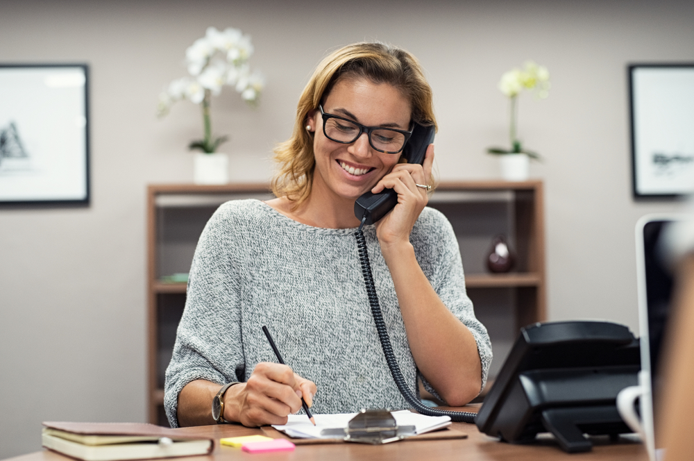 motivated and proactive woman in the office