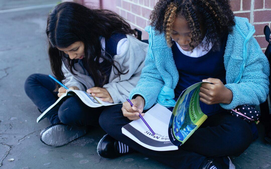 whole class reading outside