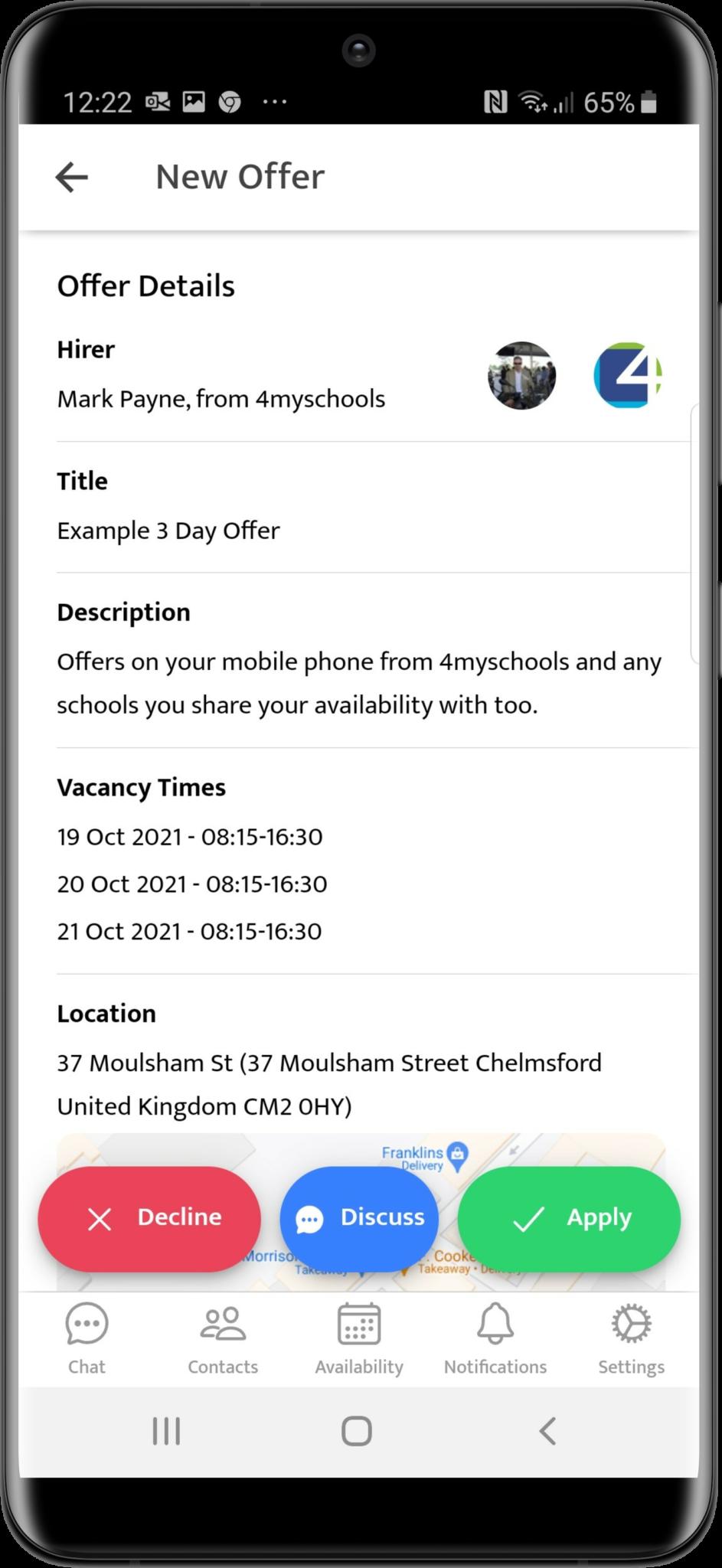 4myschools Updatedge mobile app job offer