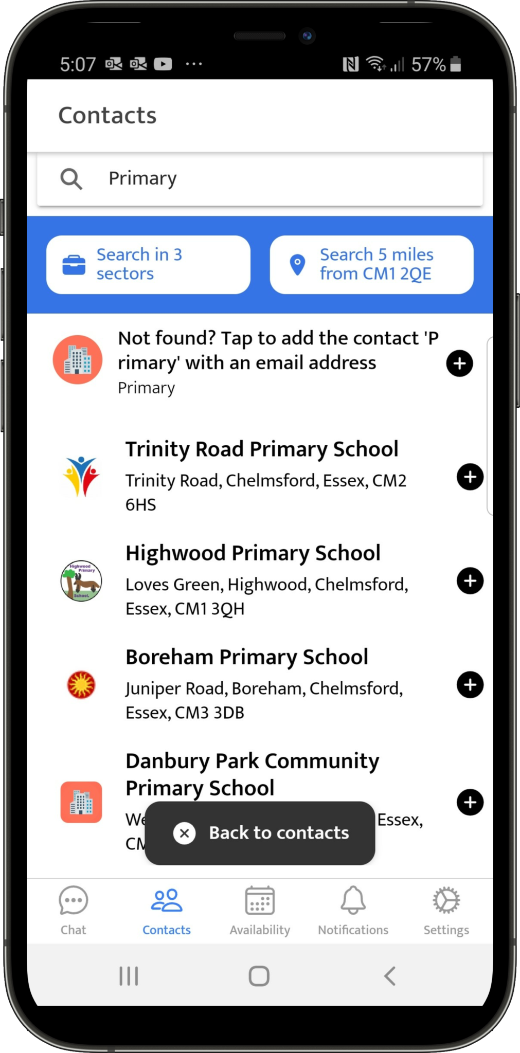 Search for preferred schools to share your availability and get offers from